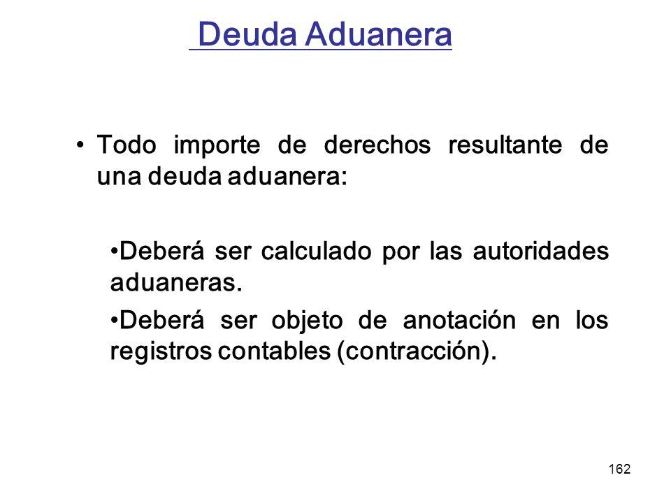 162 Deuda Aduanera Todo importe de derechos resultante de una deuda aduanera: Deberá ser calculado por las autoridades aduaneras. Deberá ser objeto de