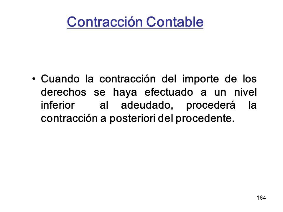 164 Contracción Contable Cuando la contracción del importe de los derechos se haya efectuado a un nivel inferior al adeudado, procederá la contracción