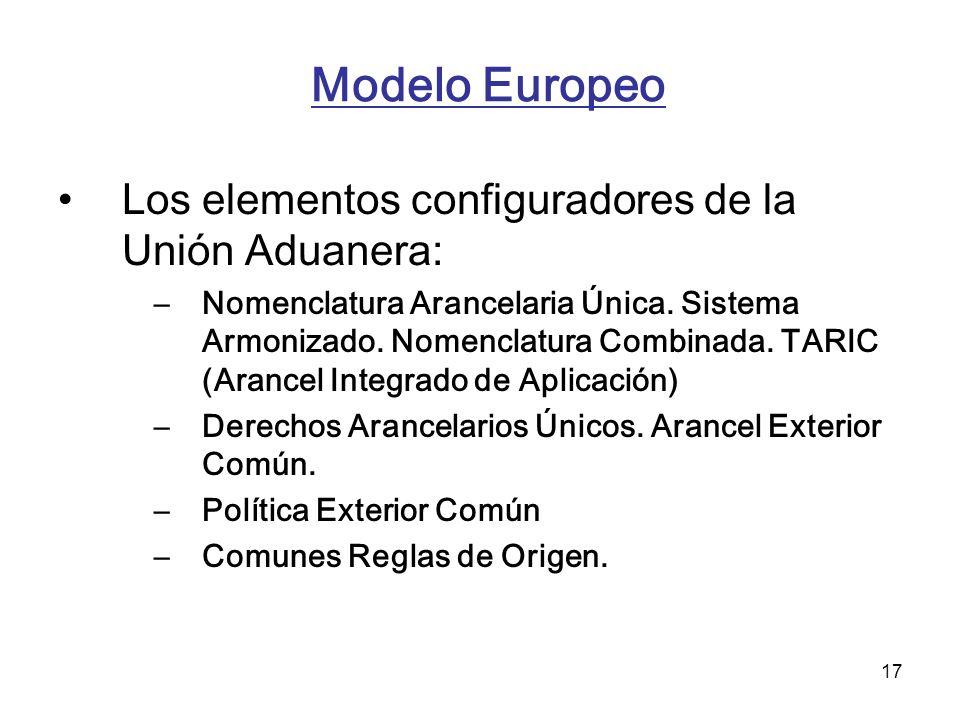 17 Modelo Europeo Los elementos configuradores de la Unión Aduanera: –Nomenclatura Arancelaria Única. Sistema Armonizado. Nomenclatura Combinada. TARI