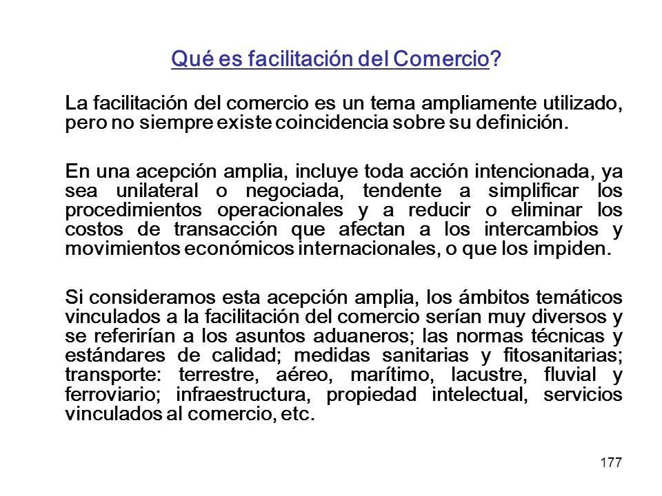 177 Qué es facilitación del Comercio? La facilitación del comercio es un tema ampliamente utilizado, pero no siempre existe coincidencia sobre su defi