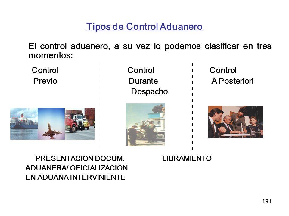 181 Tipos de Control Aduanero El control aduanero, a su vez lo podemos clasificar en tres momentos: Control Control Control Previo Durante A Posterior