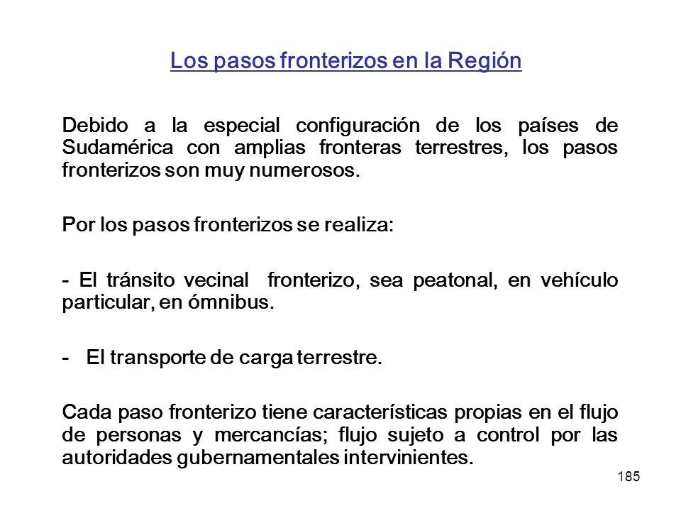 185 Los pasos fronterizos en la Región Debido a la especial configuración de los países de Sudamérica con amplias fronteras terrestres, los pasos fron