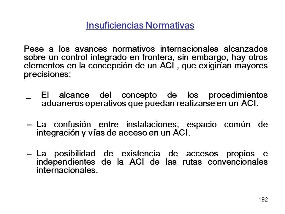 192 Insuficiencias Normativas Pese a los avances normativos internacionales alcanzados sobre un control integrado en frontera, sin embargo, hay otros