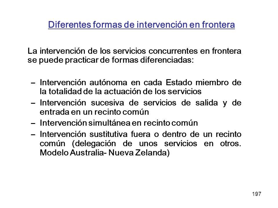 197 Diferentes formas de intervención en frontera La intervención de los servicios concurrentes en frontera se puede practicar de formas diferenciadas