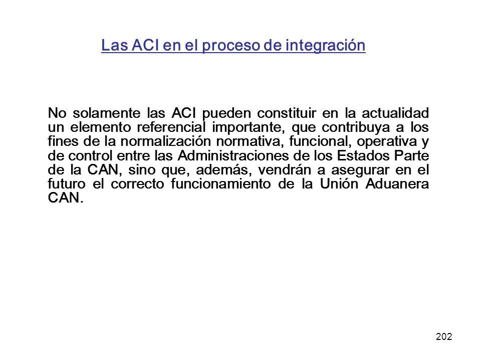 202 Las ACI en el proceso de integración No solamente las ACI pueden constituir en la actualidad un elemento referencial importante, que contribuya a