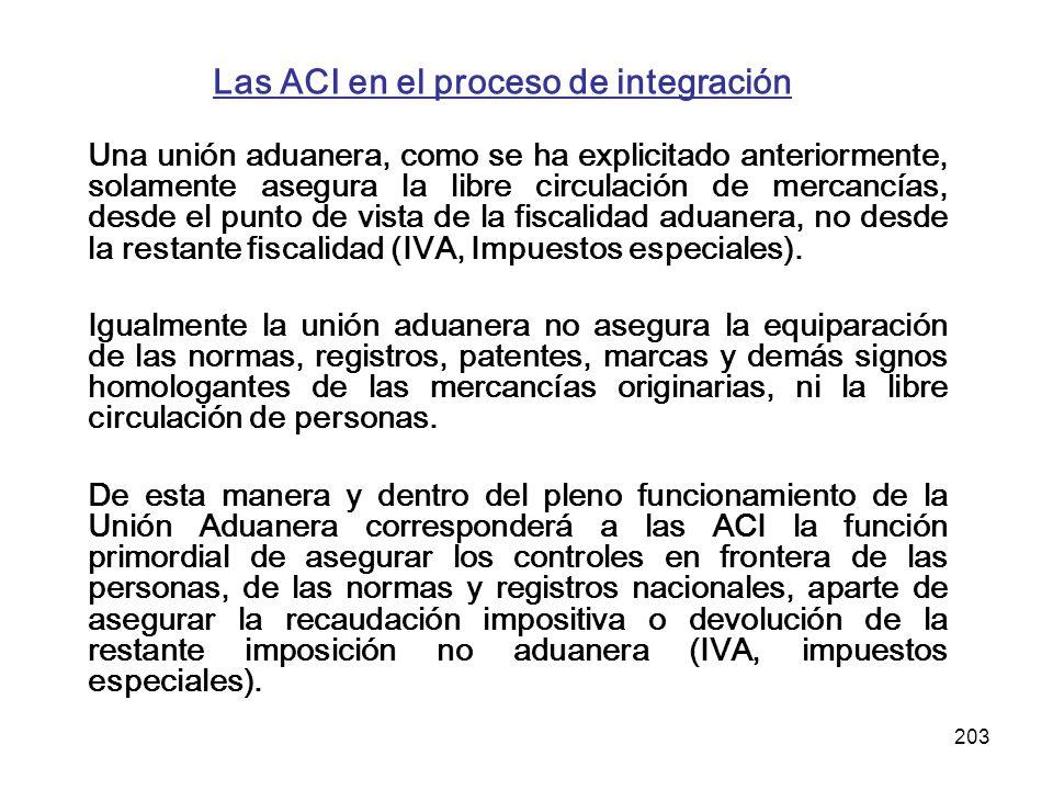 203 Las ACI en el proceso de integración Una unión aduanera, como se ha explicitado anteriormente, solamente asegura la libre circulación de mercancía