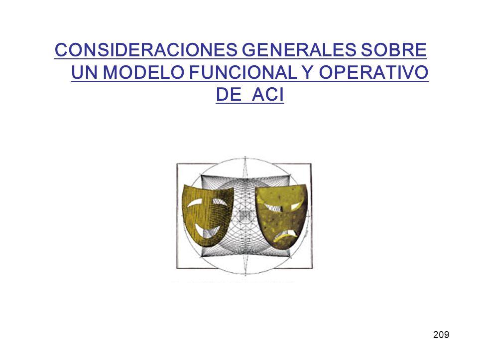 209 CONSIDERACIONES GENERALES SOBRE UN MODELO FUNCIONAL Y OPERATIVO DE ACI