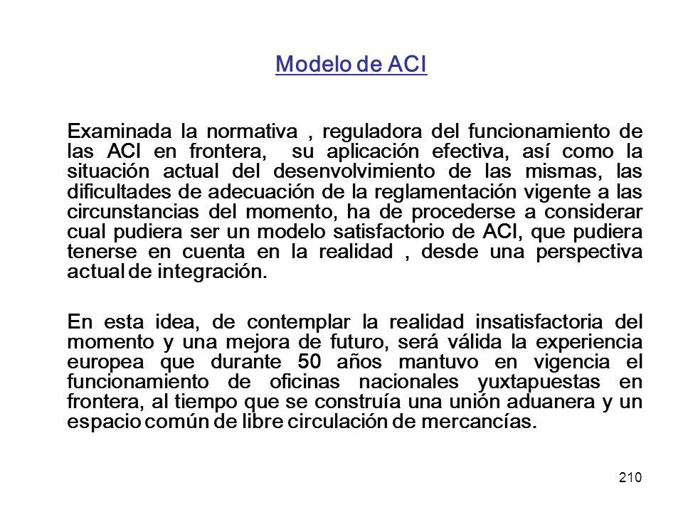 210 Modelo de ACI Examinada la normativa, reguladora del funcionamiento de las ACI en frontera, su aplicación efectiva, así como la situación actual d