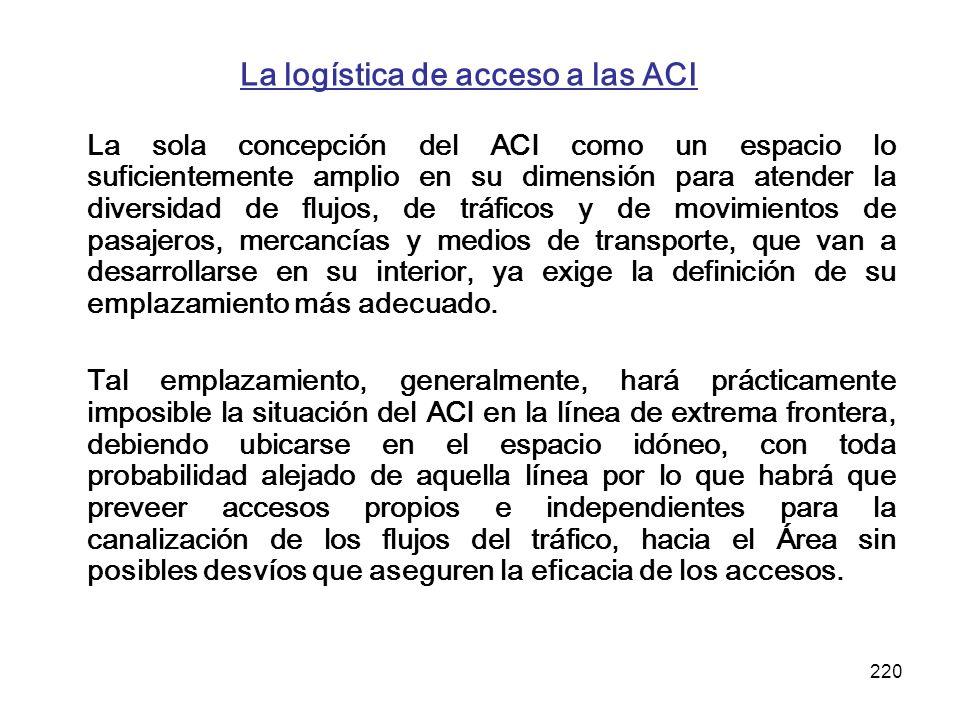 220 La logística de acceso a las ACI La sola concepción del ACI como un espacio lo suficientemente amplio en su dimensión para atender la diversidad d
