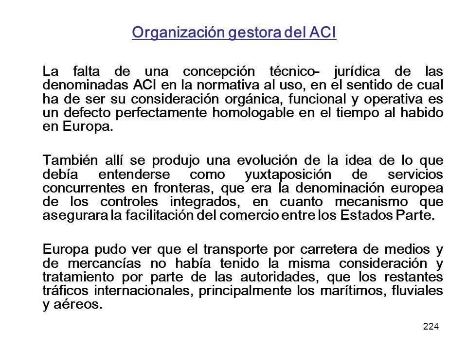 224 Organización gestora del ACI La falta de una concepción técnico- jurídica de las denominadas ACI en la normativa al uso, en el sentido de cual ha