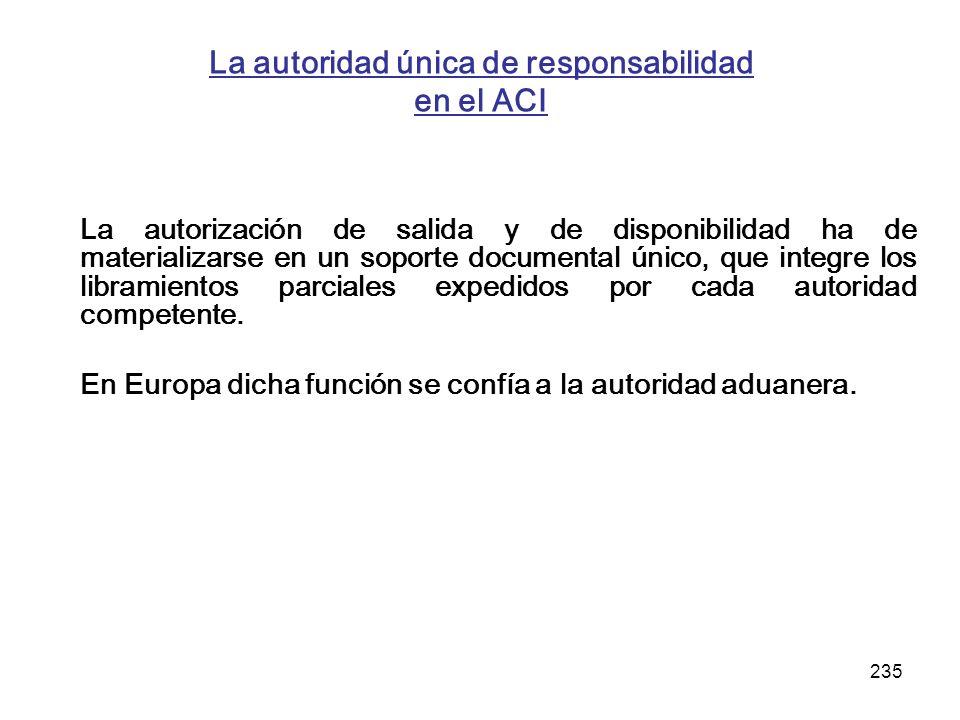 235 La autoridad única de responsabilidad en el ACI La autorización de salida y de disponibilidad ha de materializarse en un soporte documental único,