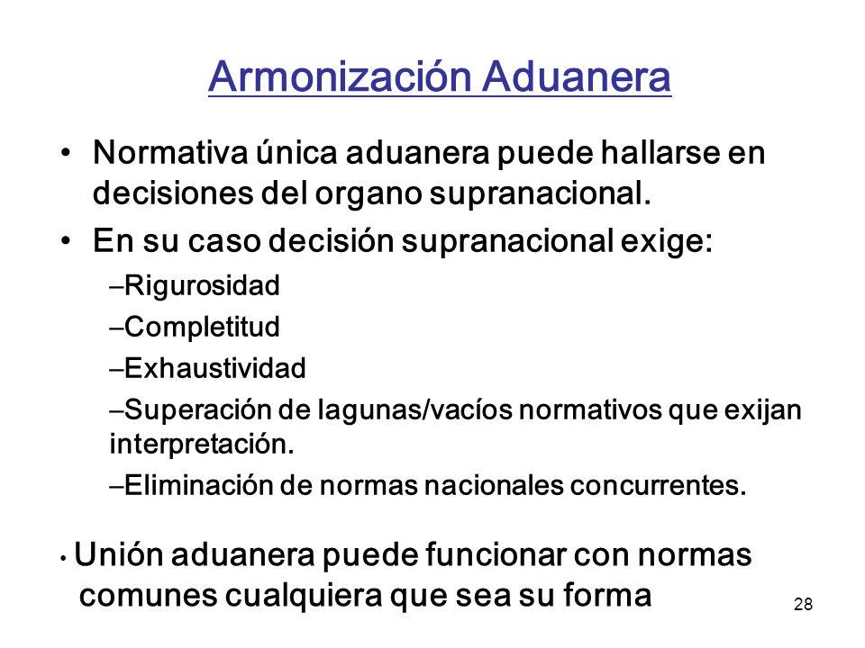 28 Armonización Aduanera Normativa única aduanera puede hallarse en decisiones del organo supranacional. En su caso decisión supranacional exige: –Rig