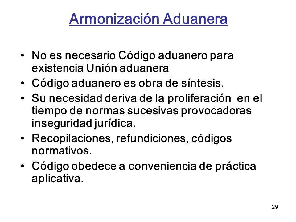 29 Armonización Aduanera No es necesario Código aduanero para existencia Unión aduanera Código aduanero es obra de síntesis. Su necesidad deriva de la