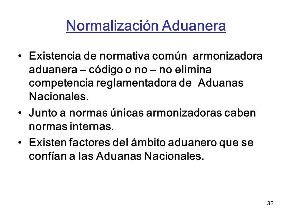 32 Normalización Aduanera Existencia de normativa común armonizadora aduanera – código o no – no elimina competencia reglamentadora de Aduanas Naciona