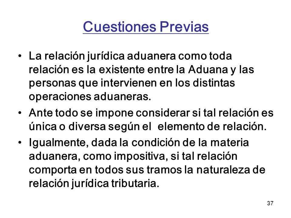 37 Cuestiones Previas La relación jurídica aduanera como toda relación es la existente entre la Aduana y las personas que intervienen en los distintas