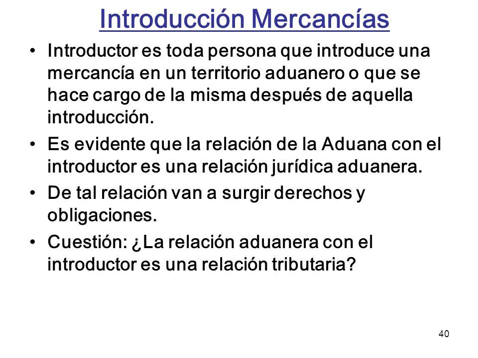 40 Introducción Mercancías Introductor es toda persona que introduce una mercancía en un territorio aduanero o que se hace cargo de la misma después d