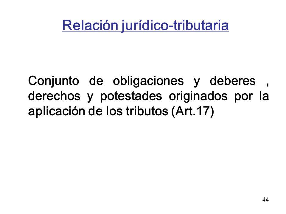 44 Relación jurídico-tributaria Conjunto de obligaciones y deberes, derechos y potestades originados por la aplicación de los tributos (Art.17)