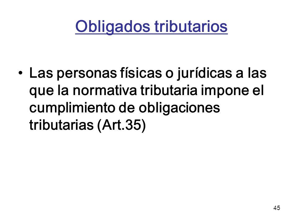45 Obligados tributarios Las personas físicas o jurídicas a las que la normativa tributaria impone el cumplimiento de obligaciones tributarias (Art.35