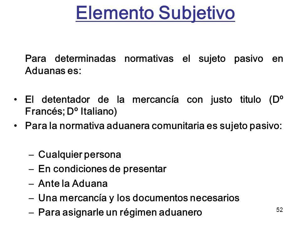 52 Elemento Subjetivo Para determinadas normativas el sujeto pasivo en Aduanas es: El detentador de la mercancía con justo titulo (Dº Francés; Dº Ital