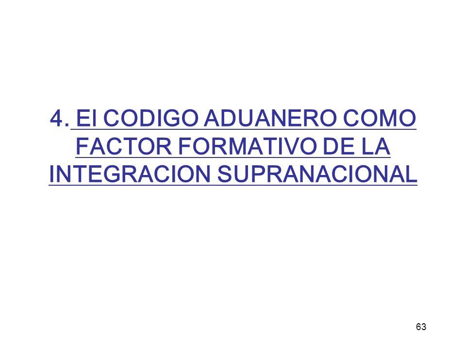 63 4. El CODIGO ADUANERO COMO FACTOR FORMATIVO DE LA INTEGRACION SUPRANACIONAL