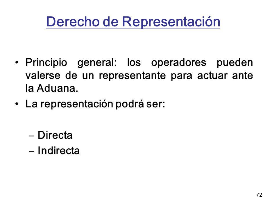 72 Derecho de Representación Principio general: los operadores pueden valerse de un representante para actuar ante la Aduana. La representación podrá