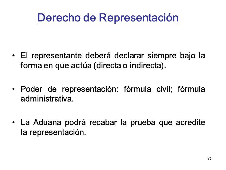 75 Derecho de Representación El representante deberá declarar siempre bajo la forma en que actúa (directa o indirecta). Poder de representación: fórmu