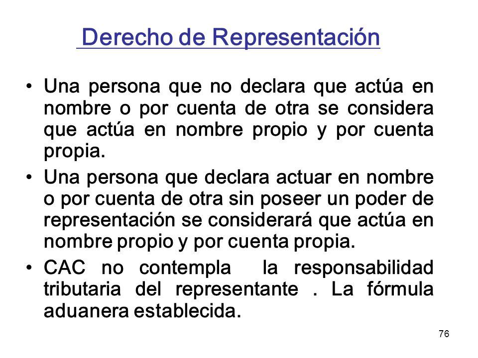 76 Derecho de Representación Una persona que no declara que actúa en nombre o por cuenta de otra se considera que actúa en nombre propio y por cuenta
