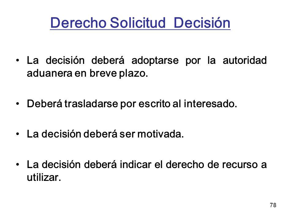78 Derecho Solicitud Decisión La decisión deberá adoptarse por la autoridad aduanera en breve plazo. Deberá trasladarse por escrito al interesado. La