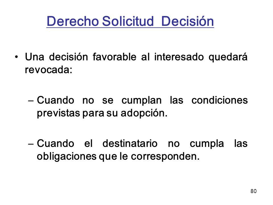 80 Derecho Solicitud Decisión Una decisión favorable al interesado quedará revocada: –Cuando no se cumplan las condiciones previstas para su adopción.