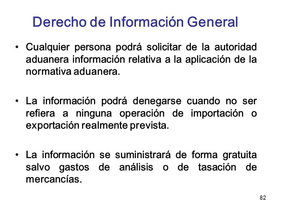 82 Derecho de Información General Cualquier persona podrá solicitar de la autoridad aduanera información relativa a la aplicación de la normativa adua