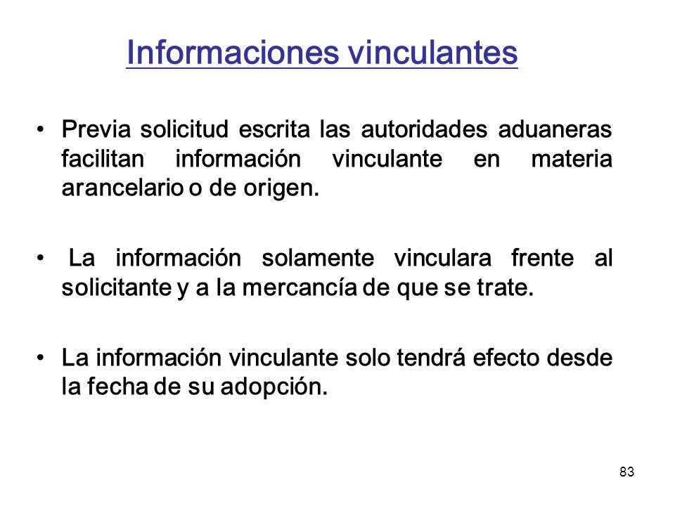 83 Informaciones vinculantes Previa solicitud escrita las autoridades aduaneras facilitan información vinculante en materia arancelario o de origen. L