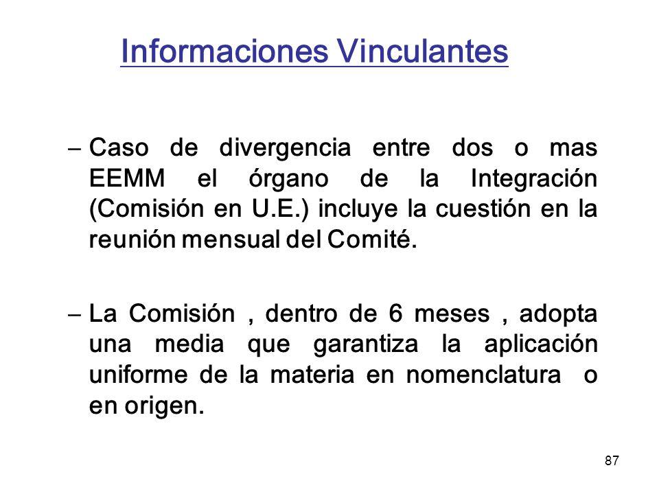 87 Informaciones Vinculantes –Caso de divergencia entre dos o mas EEMM el órgano de la Integración (Comisión en U.E.) incluye la cuestión en la reunió
