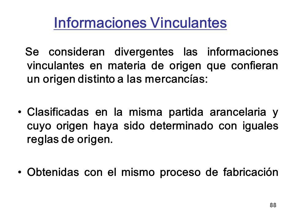 88 Informaciones Vinculantes Se consideran divergentes las informaciones vinculantes en materia de origen que confieran un origen distinto a las merca