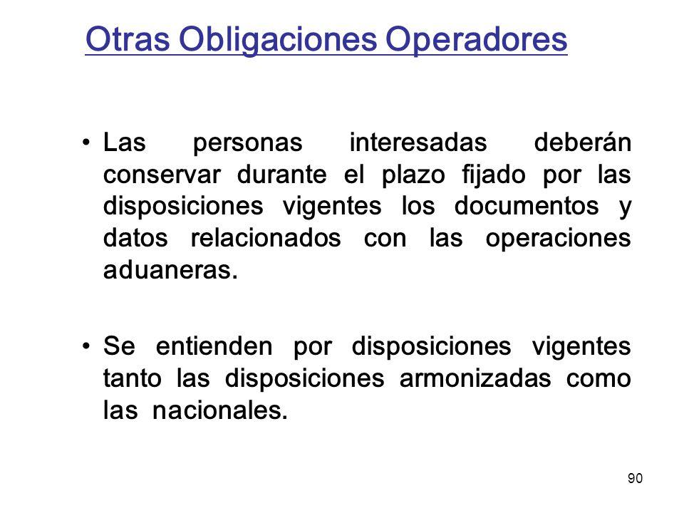 90 Otras Obligaciones Operadores Las personas interesadas deberán conservar durante el plazo fijado por las disposiciones vigentes los documentos y da