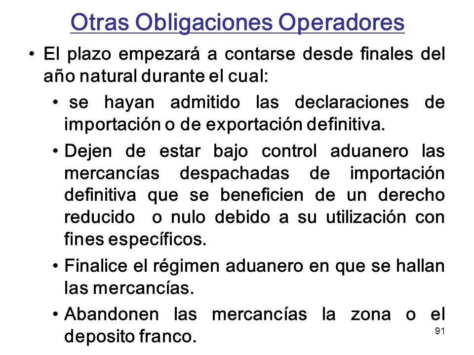 91 Otras Obligaciones Operadores El plazo empezará a contarse desde finales del año natural durante el cual: se hayan admitido las declaraciones de im