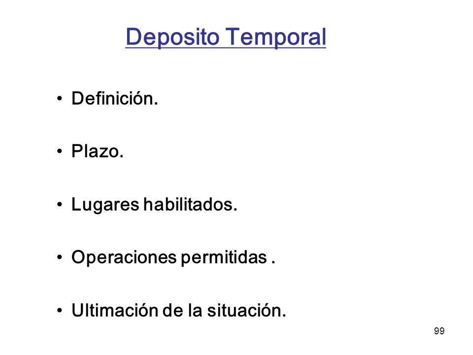 99 Deposito Temporal Definición. Plazo. Lugares habilitados. Operaciones permitidas. Ultimación de la situación.
