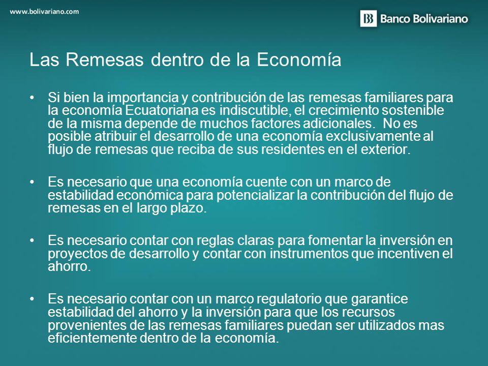 Si bien la importancia y contribución de las remesas familiares para la economía Ecuatoriana es indiscutible, el crecimiento sostenible de la misma de
