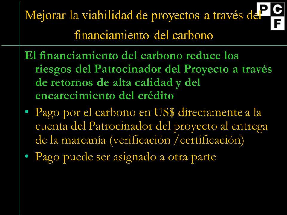 Mejorar la viabilidad de proyectos a través del financiamiento del carbono El financiamiento del carbono reduce los riesgos del Patrocinador del Proyecto a través de retornos de alta calidad y del encarecimiento del crédito Pago por el carbono en US$ directamente a la cuenta del Patrocinador del proyecto al entrega de la marcanía (verificación /certificación) Pago puede ser asignado a otra parte