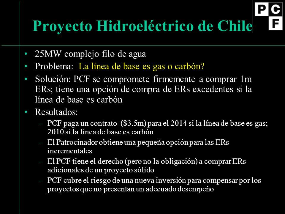 25MW complejo filo de agua Problema: La línea de base es gas o carbón.