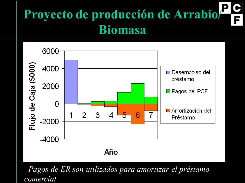 Proyecto de producción de Arrabio/ Biomasa Pagos de ER son utilizados para amortizar el préstamo comercial
