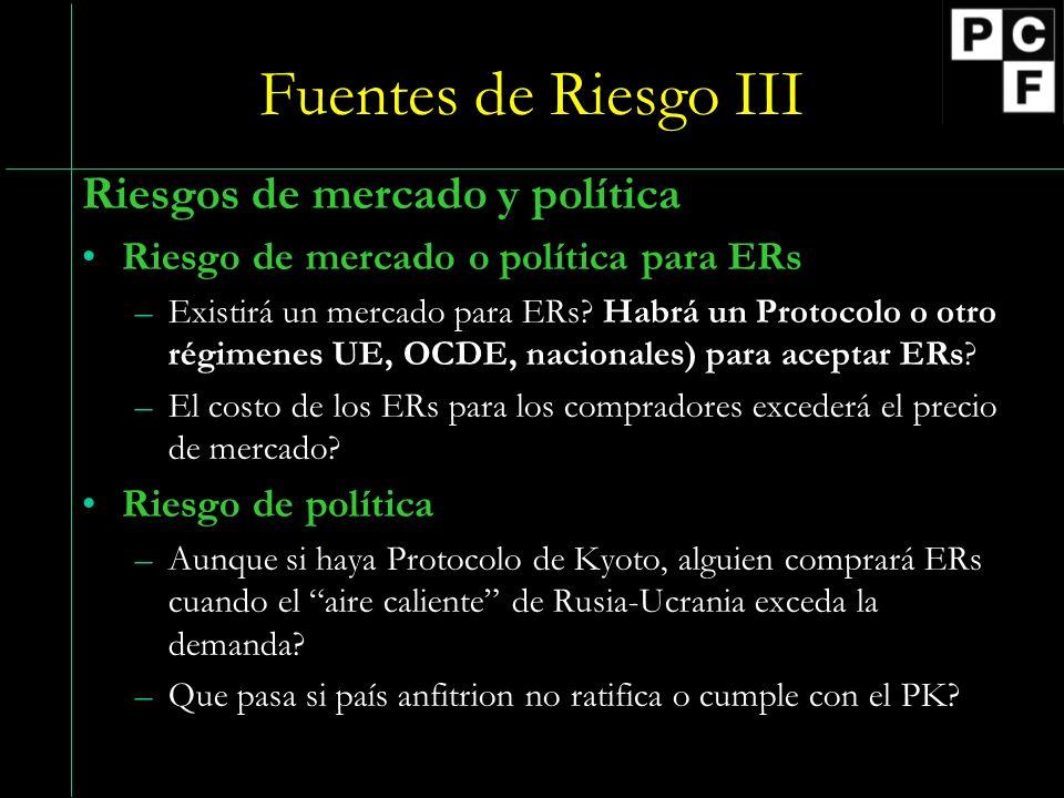 Fuentes de Riesgo III Riesgos de mercado y política Riesgo de mercado o política para ERs –Existirá un mercado para ERs.