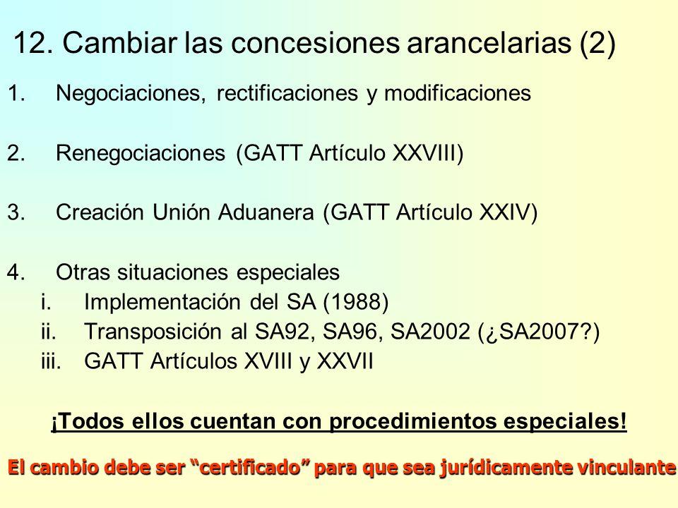 12. Cambiar las concesiones arancelarias (1) 1.¿Podría un Miembro aplicar un arancel NMF que sea menor que el arancel consolidado correspondiente en s