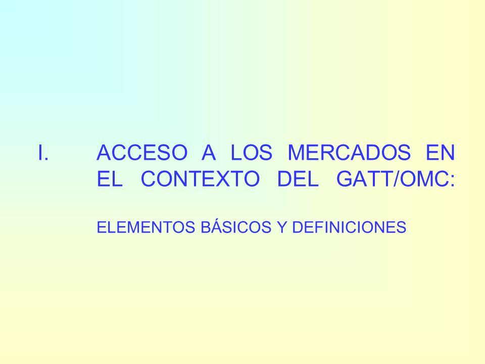 Estructura de la presentación I.Acceso a los mercados en el contexto del GATT/OMC: elementos básicos y definiciones II.Negociaciones arancelarias: ron