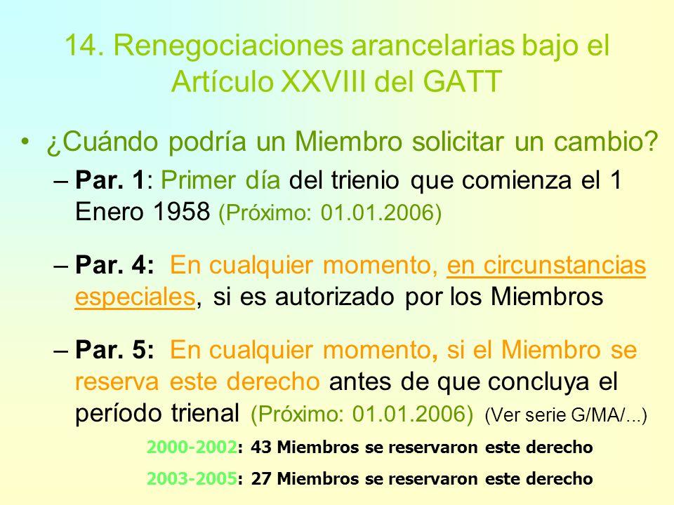 14. Renegociaciones arancelarias bajo el Artículo XXVIII del GATT Los procedimientos y definiciones se encuentran dispersos en una gran cantidad de in
