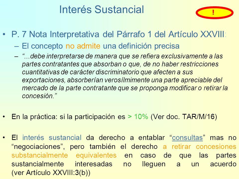 Interés como Abastecedor Principal (2) Definiciones: B.- Par. 5 de las notas interpretativas al Párrafo 1 del Art. XXVVIII, y P. 1 del Entendimiento C