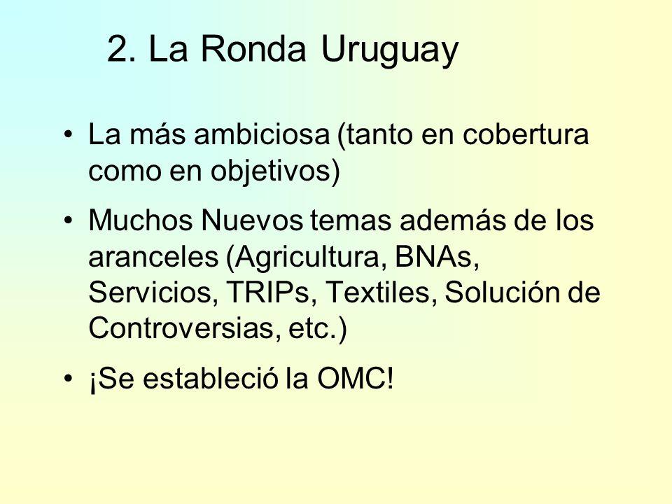1. GATT – Rondas de Negociaciones (2) 2001- ??Agenda de Doha para el Desarrollo (ADD) Agricultura; Aranceles, Servicios, otros temas 149 en 2005