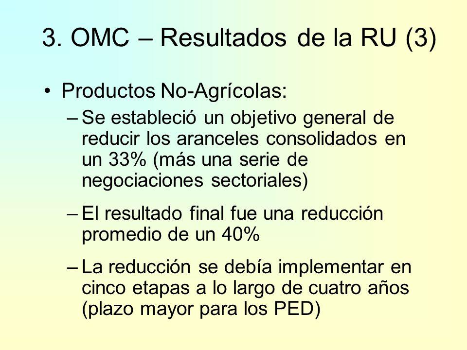 Agricultura – No Arancelario: –Corte en la Medida Global de Ayuda: -20% PD -13% PED –Corte en las Subvenciones a la Exportación: Valor de los desembol