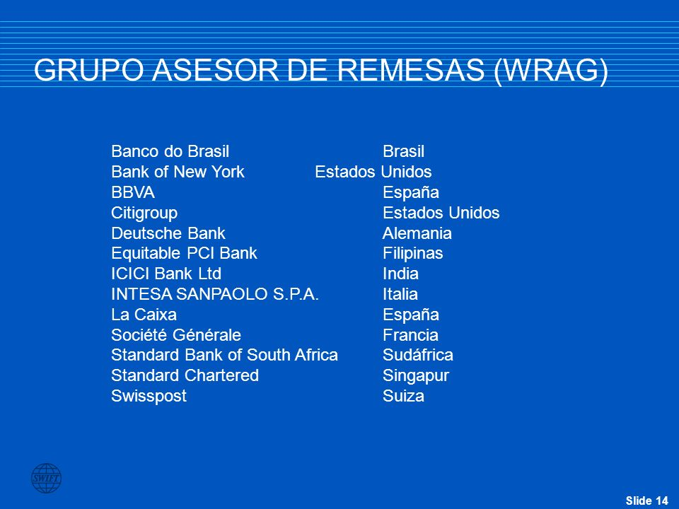 Slide 14 GRUPO ASESOR DE REMESAS (WRAG) Banco do BrasilBrasil Bank of New YorkEstados Unidos BBVAEspaña CitigroupEstados Unidos Deutsche BankAlemania