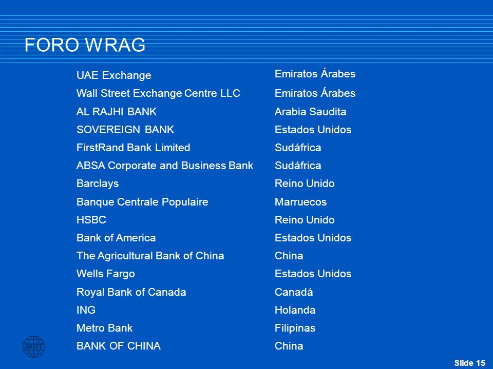 Slide 15 FORO WRAG UAE Exchange Emiratos Árabes Wall Street Exchange Centre LLC Emiratos Árabes AL RAJHI BANK Arabia Saudita SOVEREIGN BANK Estados Un