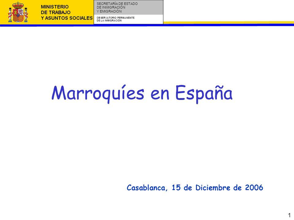 1 SECRETARÍA DE ESTADO DE INMIGRACIÓN Y EMIGRACIÓN OBSERVATORIO PERMANENTE DE LA INMIGRACIÓN Marroquíes en España Casablanca, 15 de Diciembre de 2006
